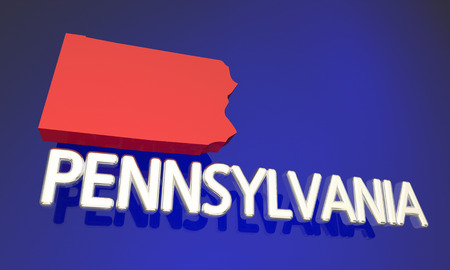 Pennsylvania PA Red State Map Name 3d Illustration