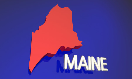 northeast: Maine ME Red State Map Name 3d Illustration