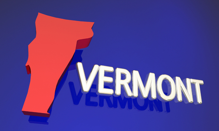 blue abstract: Vermont VT Red State Map Name 3d Illustration Stock Photo