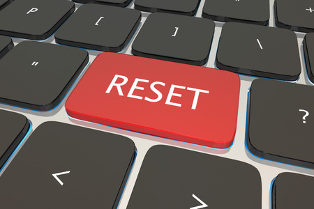 beginnings: Reset Computer Keyboard Key Button Restart Again 3d Illustration Stock Photo