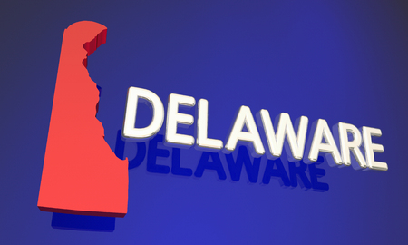 blue abstract: Delaware DE Red State Map Name 3d Illustration
