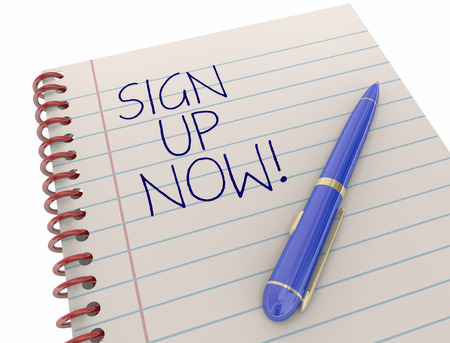 signing papers: Sign Up Register Join Participate Writing Notepad 3d Illustration