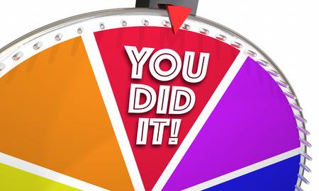 Je hebt het succes winnaar prestatie behaald Spinning Wheel 3d illustratie