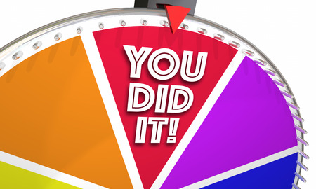 wheel spin: You Did It Success Winner Accomplishment Achieved Spinning Wheel 3d Illustration Stock Photo
