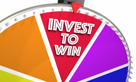 wheel spin: Invest to Win Game Show Wheel Stock Market Financial Advice 3d Illustration Stock Photo