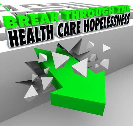 breaking: Break Through the Health Care Hopelessness 3d words and arrow breaking through a maze to illustrate advice or help for getting insurance or medical insurance coverage Stock Photo