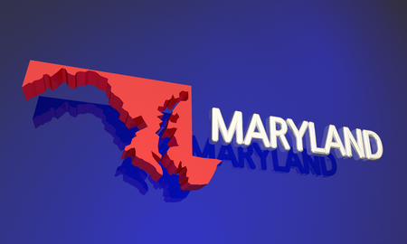 md: Maryland MD Red State Map Name 3d Illustration