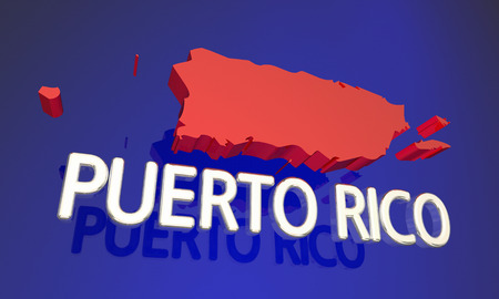 business focus: Puerto Rico PC Protectorate Territory Map Name 3d Illustration