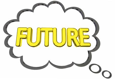 미래에 대한 미래의 생각은 다음 생각으로가는 3D 일러스트 클린드