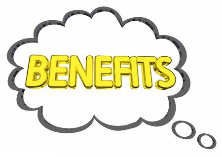 Benefits Thought Cloud Features Compensation Word 3d Illustration Reklamní fotografie