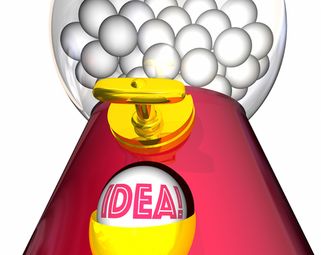 gumball: Idea Gumball Machine Inspiration Imagination 3d Illustration Stock Photo