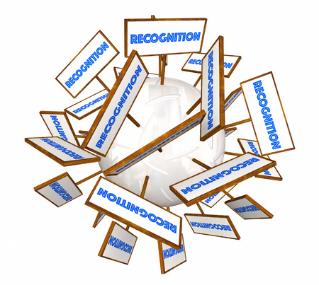 Recognition Signs Appreciation Word Sphere 3d Animation Stock Photo