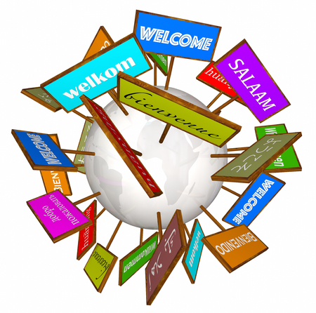 willkommen: Welcome Around World Different Languages Cultures Signs 3d Illustration