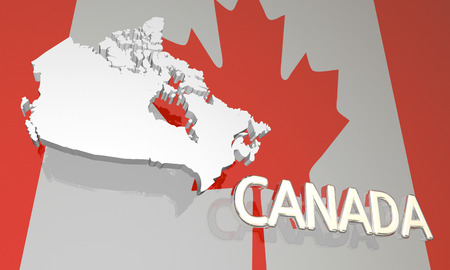 canadian flag: Canada Country Nation Map North America Flag 3d Illustration