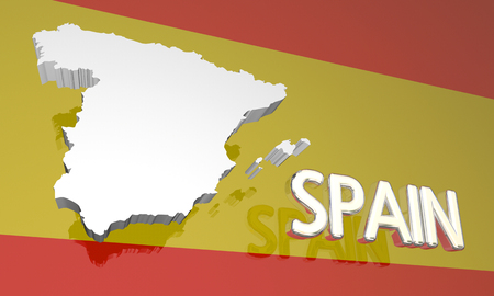 europe: Spain Country Nation Map Europe Flag 3d Illustration