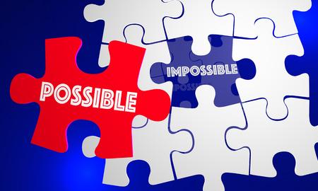 succeeding: Possible Vs Impossible Attitude Puzzle Piece Filling Hole 3d Illustration Stock Photo