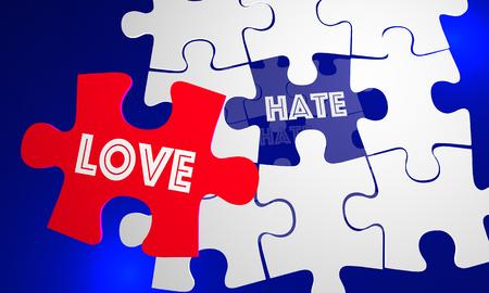De liefde slaat Haat Puzzelstuk het Vullen 3d Illustratie van het Gat