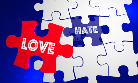 Love Beats Hate Puzzle Piece Filling Hole 3d Illustration Stock Photo