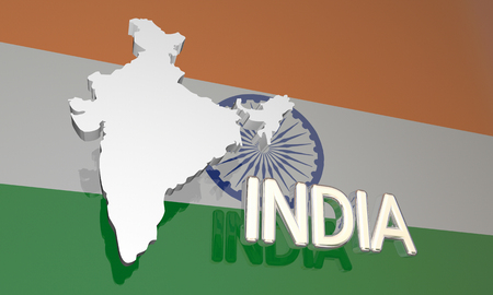 national geographic: India Country Nation Map Asia Flag 3d Illustration