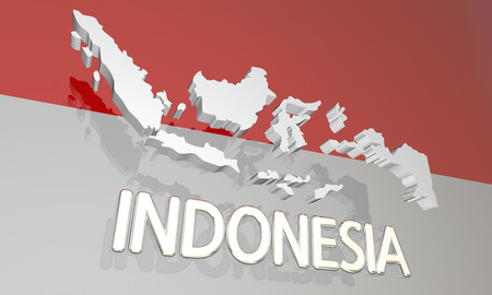 Indonesia Country Nation Map Asia Flag 3d Illustration