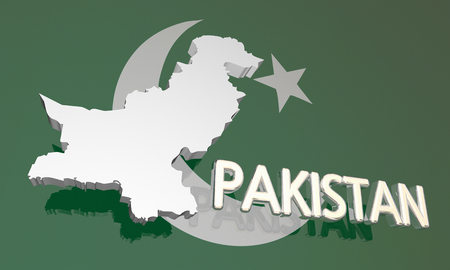 Pakistan Land Nation Karte Asien Flagge 3d Illustration