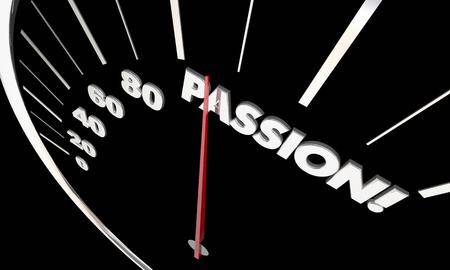 Passion Love Strong Feelings Measurement Speedometer Word 3d Illustration Reklamní fotografie