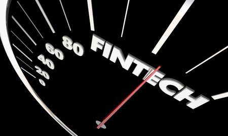 Fintech Finance Software Tools Apps Speedometer Word 3d Illustration Banco de Imagens