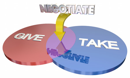 shared sharing: Negotiation Give Take Compromise Venn Diagram Words 3d Illustration