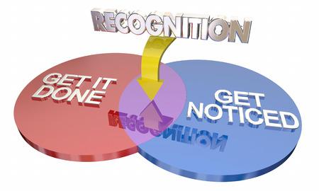 shared sharing: Recognition Get It Done Noticed Venn Diagram Words 3d Illustration