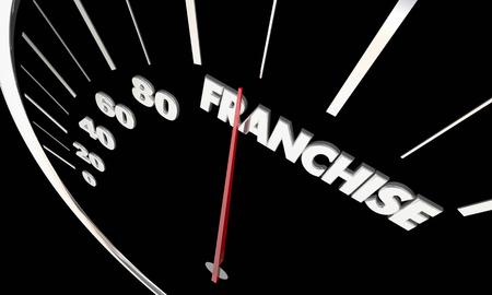 car speed: Franchise New Business Opportunity Measure Success Speedometer Word 3d Illustration