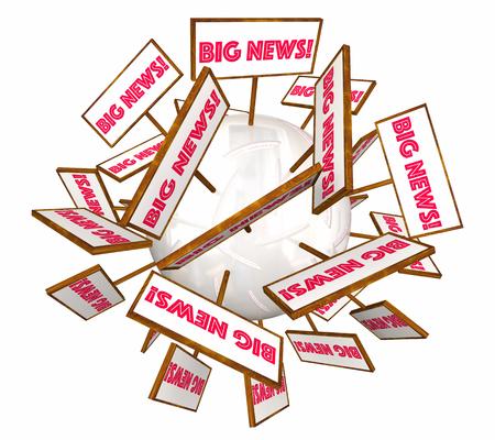 ビッグ ニュースお知らせサインの言葉 3 d イラストレーション