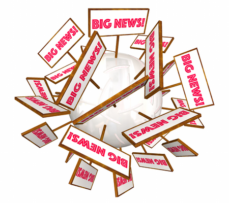 spread around: Big News Information Announcement Signs Words 3d Illustration