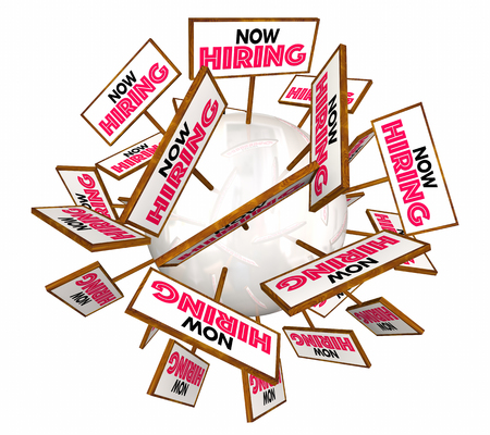 listings: Now Hiring Help Wanted Open Jobs Positions Signs 3d Illustration