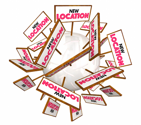 real: New Location Opening Store Business Signs 3d Illustration Stock Photo