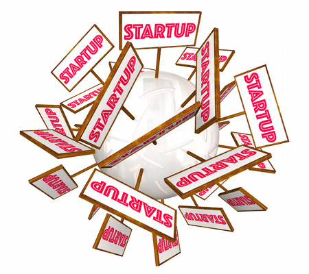 business meeting: Startup New Company Launch Signs Announcement 3d Illustration Stock Photo