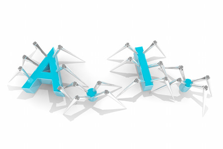 AI Artificial Intelligence Machine Learning Spiders Letters 3d Illustration
