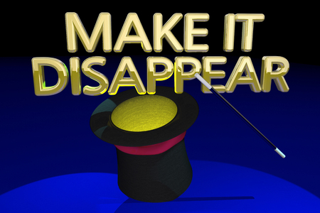 Make it Disappear Go Away Magic Hat Trick Wand 3d Illustration