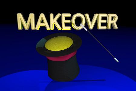 変身やり直し更新新しい一見魔法の帽子杖 3 d イラストレーション