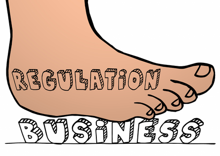 regulating: Regulation Killing Business Government Regulating Foot 3d Innovation Stock Photo