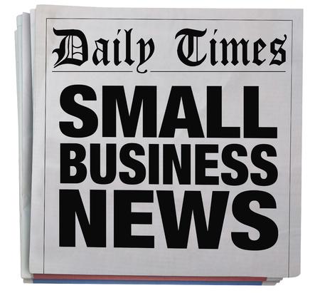 journalism: Small Business Newspaper Headline Report Spinning 3d Illustration