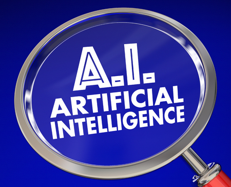 AI Artificial Intelligence Magnifying Glass Research 3d Illustration