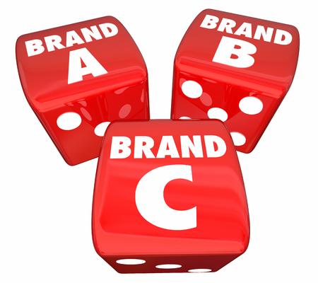 ブランド A B C ローリング ダイスを選択最高の会社製品 3 d イラストレーション 写真素材