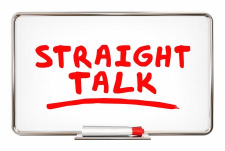 まっすぐな話正直な討論の書き込みの言葉ボード 3 d イラストレーション