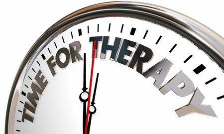 Time for Therapy Clock Feel Better Health Care Help 3d Illustration Stock Photo