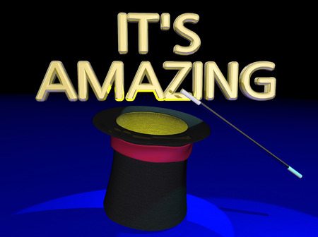 exciting: Its Amazing Magic Show Trick Hat Wand Words 3d Illustration Stock Photo