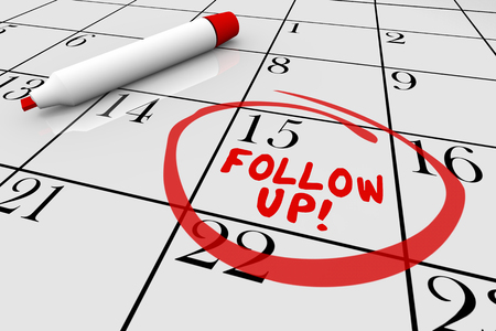 Follow Up Calendar Words Appointment Reminder 3d Illustration Stockfoto