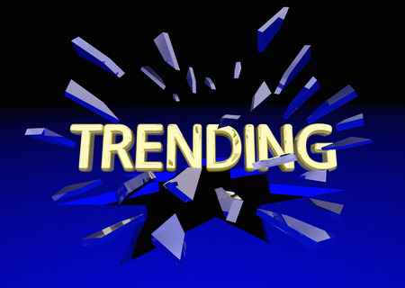 popularity popular: Trending News Popular Buzz Post Break Glass 3d Illustration Stock Photo