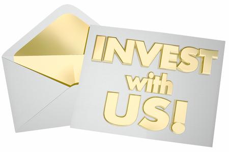 Invest with Us Invitation Envelope 3d Illustration