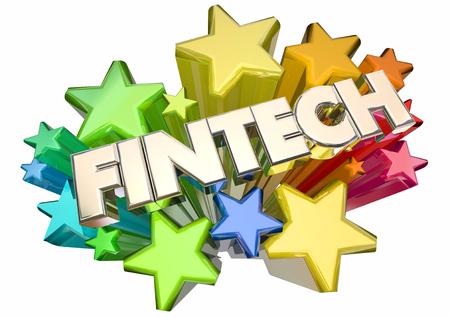 automate: Fintech Word Stars Finance Technology 3d Illustration Stock Photo