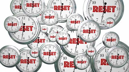 beginnings: Reset Your Clocks Time Flying Word 3d Illustration Stock Photo